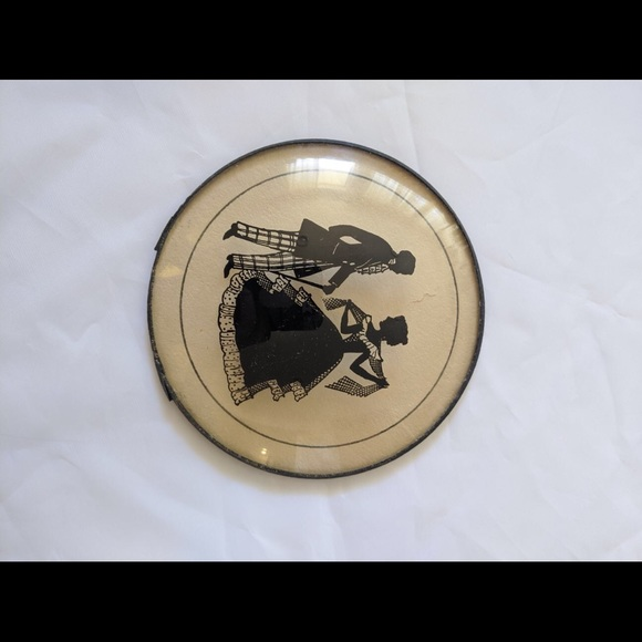 Vintage Other - Reverse Silhouette picture on convex glass